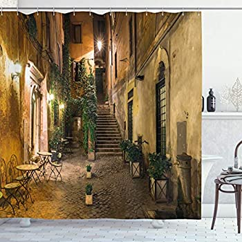 Ambesonne Italian Shower Curtain, Old Courtyard Rome Italy Cafe Chairs City Historic Houses in Street, Cloth Fabric Bathroom Decor Set with Hooks, 70