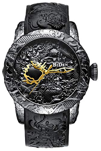 - The New Fashion Watches Mens 3D Engraved Dragon Quartz Watches Big Dial Casual Sports Waterproof Watch Man (Black)