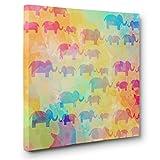 Watercolor Rainbow Elephants CANVAS Wall Art Home Décor