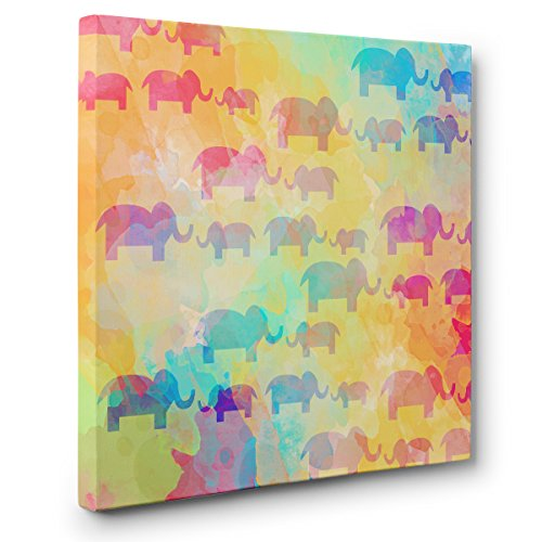 Watercolor Rainbow Elephants CANVAS Wall Art Home Décor by Paper Blast