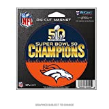 WinCraft Denver Broncos Official NFL 4.5 inch x 6 inch Super Bowl 50 Champions Die Cut Car Magnet by 452214