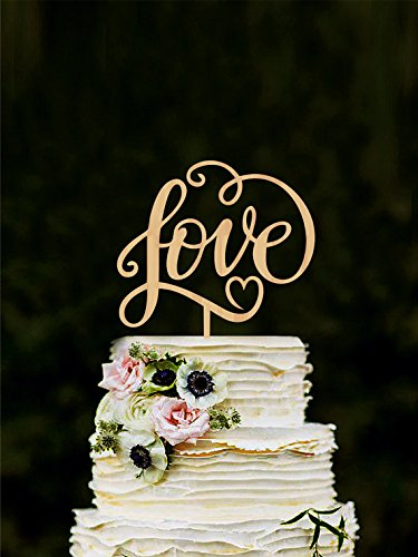 Love wedding cake topper, unique cake toppers for weddings, letter cake toppers, wooden heart cake topper, wedding cake decoration gold
