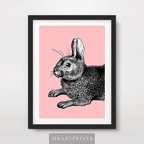 BUNNY RABBIT PINK BRIGHT COLOR ANIMAL ILLUSTRATION POP ART PRINT Poster Modern Home Decor Room Interior Design Wall Picture A4 A3 A2 (10 Size Options)