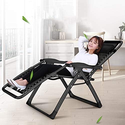 Outdoor Zero Gravity Chaises Sun Patio Chaise Longue pour Recliner Garden Beach Camping Lounge Chaise Pliante de Soutien 200 kg (Couleur: Noir sans Serrure, avec Coussins Bleu)