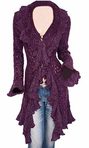 ONTBYB Womens Autumn Ruffle Long Open Front Knit Cardigan Coat Outwear Purple (Long Ruffle Cardigan)