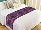 PicaqiuXzzz Custom Watercolor Bed Runner, Abstract Aztec Pattern Purple Bed Runners And Scarves Bed Decoration 20x95 inch