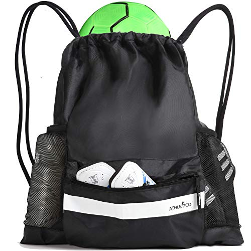 Athletico Drawstring Soccer Bag - Soccer Backpack Can Also Carry Baskeyball or Volleyball (Black)