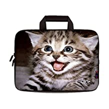 "iColor Cute Kitten 9.7"" 10"" 10.1"" 10.2"" Tablet Laptop Neoprene Carrying Bag Sleeve Briefcase Pouch Handle Bag Tote for iPad Air, Kindle Fire HD 10, Lenovo Yoga book, 10.1 Toshiba Encore 2, PolaTab Q10.1, Dell Inspiron Mini 10 IHB10-08"
