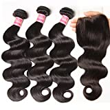 Nadula 6A Gorgeous Body Wave Brazilian Virgin Hair Free Part Lace Closure with 3 Bundles Unprocessed Remy Human Hair Weave Extensions Natural Color (18 20 22&16closure)