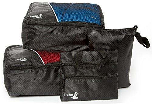 - HOPEVILLE packing cube kit (set of 4), 2 bike packs, PLUS zipper pouch and 3 compartment travel organizer, Premium luggage bags for perfectly organized bicycle or motorcycle saddle bags