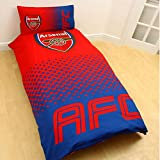 Arsenal FC Official Fade Reversible Single Duvet Cover Bedding Set (Twin) (Red/Blue)