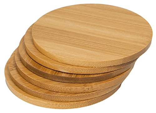 Round Bamboo Coaster Set (6 pcs) - Prevents