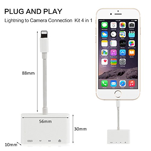 SD TF Card Reader Adapter,4 in 1 Lightning to USB Camera Connection Kits,Trail Game Camera Viewer OTG Cable for iphone x 8 8plus for ipad series - No Need APP - Compatible with ios 11.2 by UWECAN (Image #1)