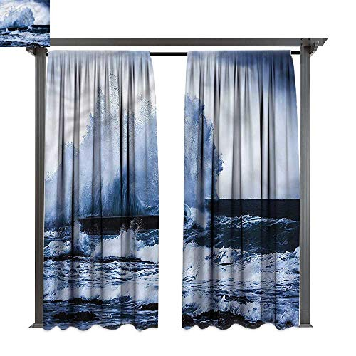 cobeDecor Thermal Insulated Drapes Wave Seashore Strong Tide Typhoon for Lawn & Garden, Water & Wind Proof W108 xL72