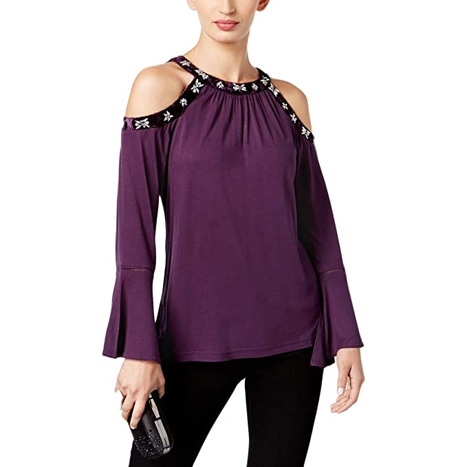eee79b82562fa6 Image Unavailable. Image not available for. Color  INC  79 Womens New 1368  Purple Cold Shoulder Embellished Long Sleeve Top XXL ...