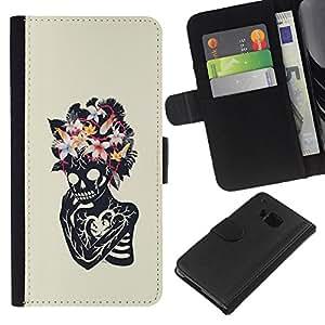 Be-Star la tarjeta de Crédito Slots PU Funda de cuero Monedero caso cubierta de piel Para HTC One M9 ( Floral Heart Skull Skeleton Spring )