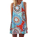 Auwer Clearance! Women's O-Neck Boho Sleeveless Summer Beach Sundress Floral Printed Casual T-Shirt Short Mini Dressh Printed Short Mini Dress (XL, Blue)