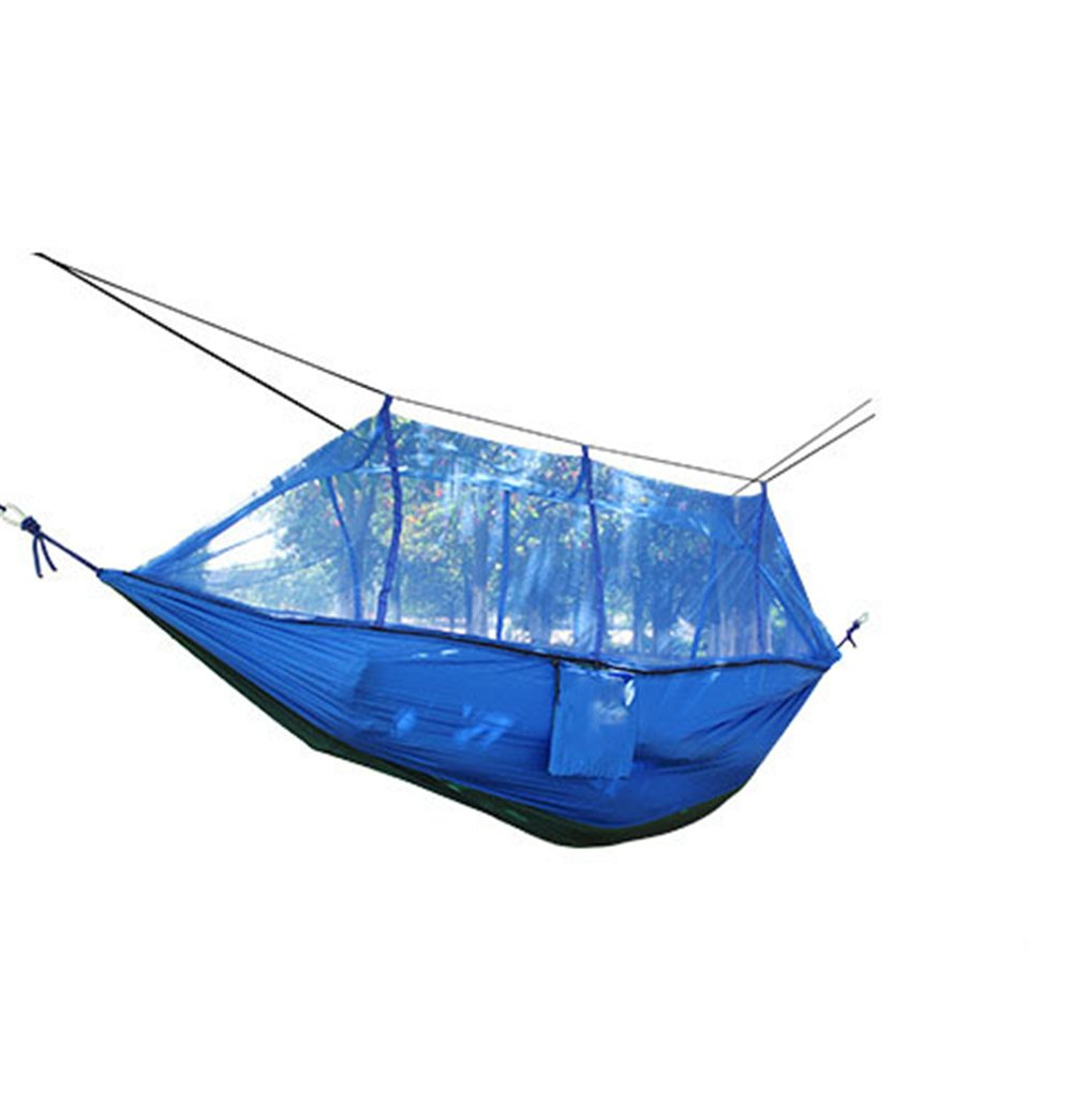 Zxcvlina Double Camping Hammocks with Mosquito Net(Blue) Lightweight Parachute Nylon Fabric Double Hammock for Outdoor Travel Camping Hiking Backpacking Backyard with Space-Saving Steel Stand