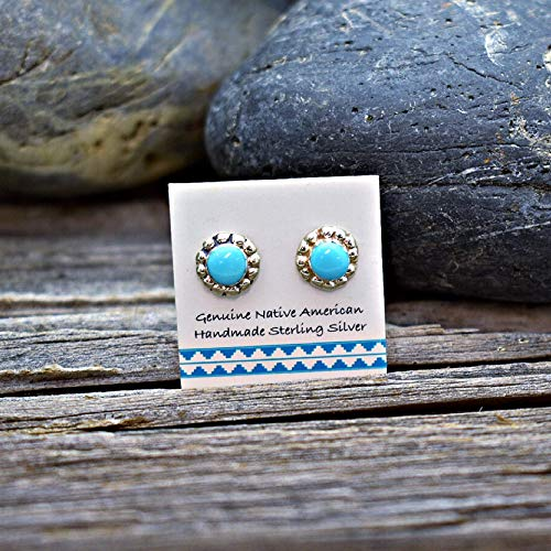 (7mm Genuine Sleeping Beauty Turquoise Stud Earrings in 925 Sterling Silver, Authentic Native American, Handmade in the USA, Nickle Free)