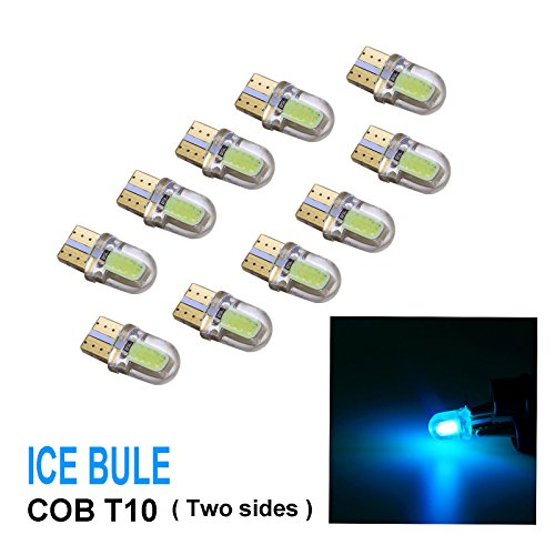 PA 10 x COB LED (Two sides each 4 chip) T10 921 T15 194 CANBUS Silica Bright Side Marker Light/Turn Signal Light/Driving Light/License Light Bulbs (Ice Blue)