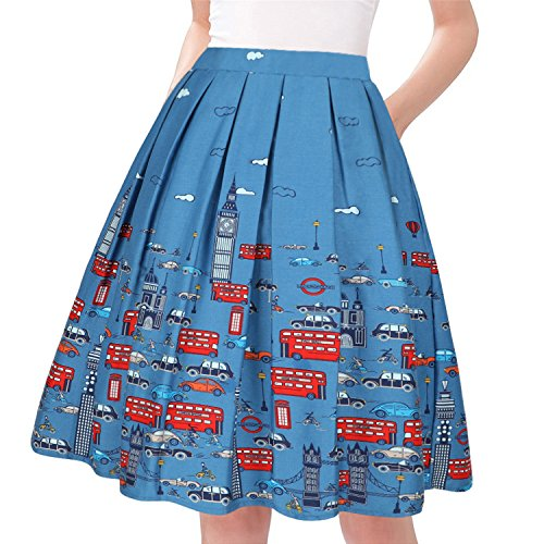 Taydey A-Line Pleated Vintage Skirts for Women (2XL, Car)