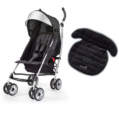 Summer Infant 3D Lite Convenience Stroller with Piddle Pad Seat Protector, Black