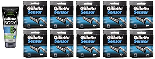 Gillette Body Non Foaming Shave Gel for Men, 5.9 Fl Oz + Sensor Refill Blades 10 Ct. (10 Pack) + FREE LA Cross Manicure 74858 by GiIlette