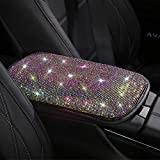Universal Bling Bling Car Center Console Cover, Luster Crystal Arm Rest Padding Protective Case Diamond Car Decor Accessories for Women(FSD)