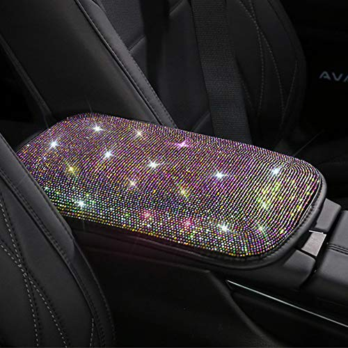 Universal Bling Bling Car Center Console Cover, Luster Crystal Arm Rest Padding Protective Case Diamond Car Decor…