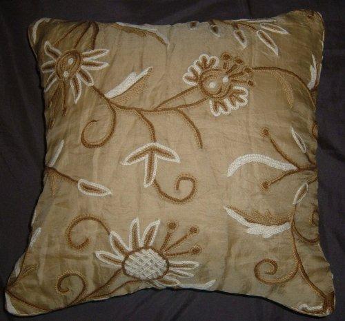 Crewel Pillow Marigold Desert Sand Silk Organza (16X16)