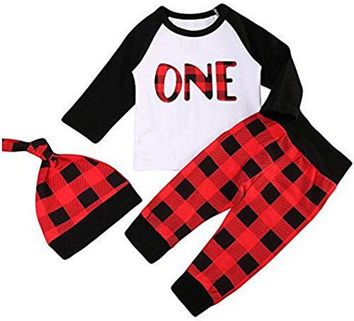 Younger star Newborn Baby Outfits Long Sleeve T-Shirt With Red Plaid Pant and Hat Christmas Costume (White, 18-24 Months)