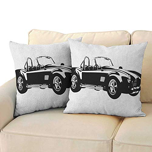(Cars,Pillow Covers Silhouette Classic Sport Car Ac Cobra Roadster American Antique Engine Autosport 16