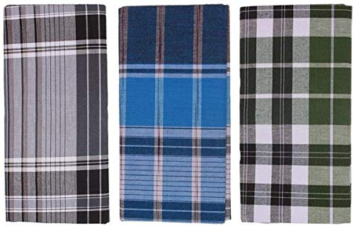 Neoteric Handloom 100% Cotton Checked Lungi/Dhoti/Sarong/Wrap for Mens – 3 Piece Combo Pack