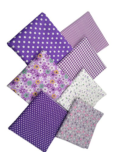 levylisa 19.7 x 19.7 7pcs Purple Floral Dot Stripe Cotton Fabric Fat Quarter Bundle patchwork Quilting Fabric Sets Sewing Fabric Patchwork Flower Dots DIY quilting Handmade Craft