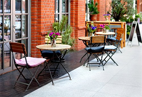 AOFOTO 7x5ft Tables And Chairs Of Restaurant Backdrop European City Street Bistro Outdoor Dining Photography Background Urban Lane Bar Streetscape Travel Photo Studio Props Adult Portrait Wallpaper