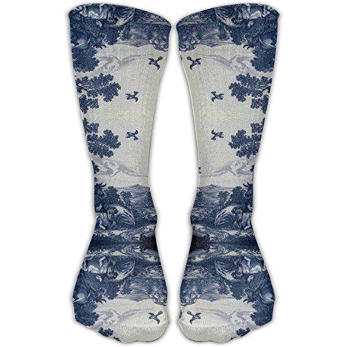 (HISHFA Women's Classic Delft Blue Ceramic Tile Inspired Pattern (3871) Model Knee High Nursing Travel Comfortable Compression Socks, Women's Shoe Size)