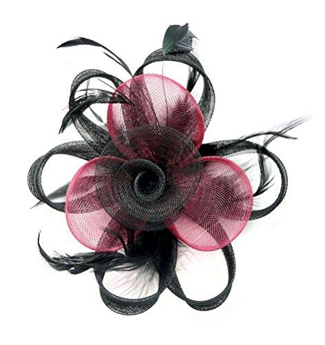 Fascinator Hair Clip Women Flower Feather Headband Pillbox Hat Tea Party (A Black Burgundy)