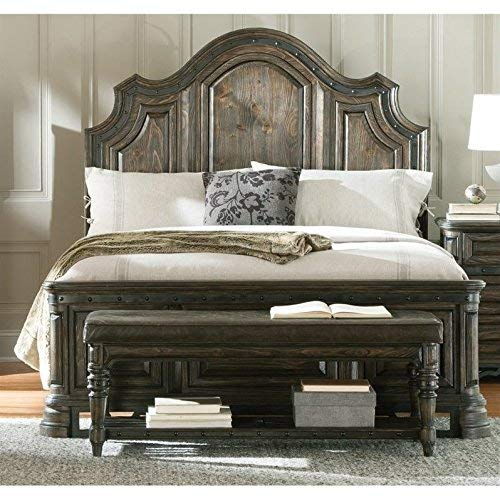 Coaster 204041Q-CO Carlsbad Collection Queen Size Panel Bed with Distressed Detailing Solid Wood and Pine Wood Veneer, Vintage Espresso