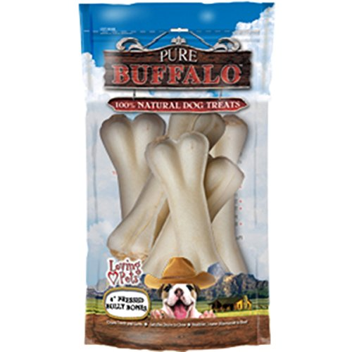 Loving Pets Pure Buffalo 4-Inch Pressed Bully Bone Dog Treat, 5-Pack ()