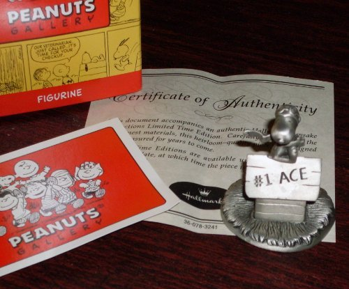 Hallmark 2000 Peanuts Gallery Snoopy Flying Ace Pilot Pewter Figurine - Flying High - Limited Numbered Edition