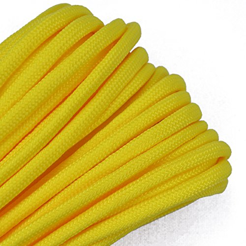 Bored Paracord - 1', 10', 25', 50', 100' Hanks & 250', 1000' Spools of Parachute 550 Cord Type III 7 Strand Paracord Well Over 300 Colors - Canary Yellow - 100 Feet