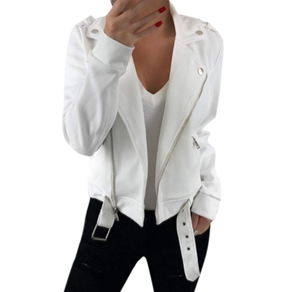 Fshinging Women Jacket Coat Long Sleeve Blazer Open Front Short Cardigan Suit Work Office Outwear Tops{White,M} by Fshinging