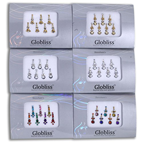 Globliss 6 Packs with 42 Long Indian Bindis face Gems Forehead Sticker Silver Golden (Mixed Girl Halloween Makeup)