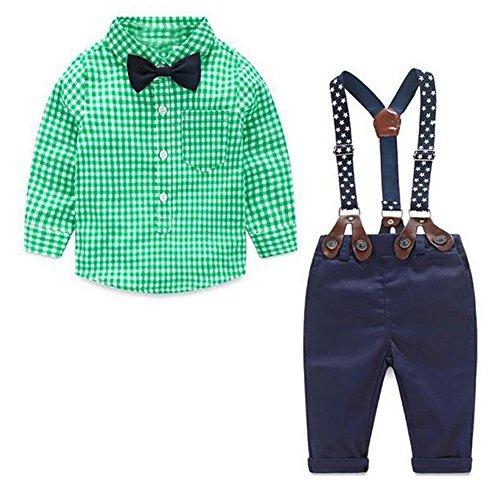 JIANLANPTT 2 Pieces Baby Boys Gentelman Suit Bowtie Long Sleeve Plaid Shirt Overalls Set Green 6-9months - Newborn Boys 2 Piece Overall