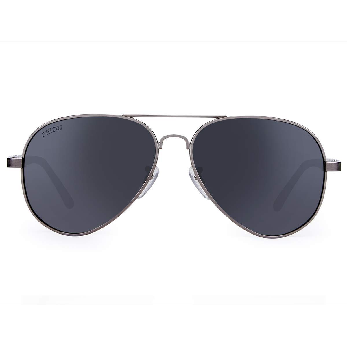 da3d5af38 Amazon.com: FEIDU Mens Polarized Aviator Sunglasses Metal Frame Unisex Sun  Glasses FD9001 (Black/Gun, 2.08): Clothing