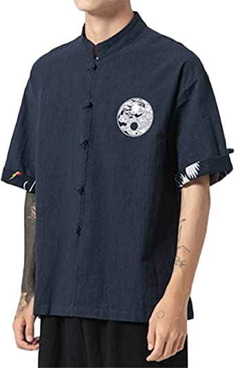 GUOCU Hombres Camisa Japonés Cardigan Yukata Estilo Kimono con Bordado Vintage Holgado Casual Camiseta con Hebilla: Amazon.es: Ropa y accesorios