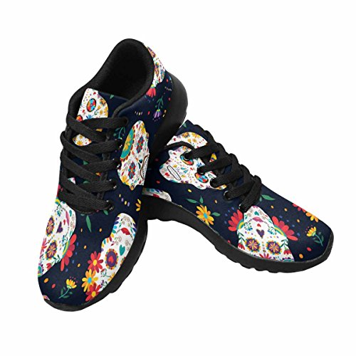 Interestprint Mujeres Casual Soft Sports Road Running Zapatos Para Caminar Skull Decoration, Flowers Multi 1