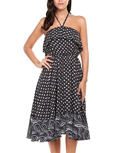 Acevog Vestidos de Tirantes Mujer de Verano Estampados de Lunares con Espalda Descubierta de Playa Azul Oscuro