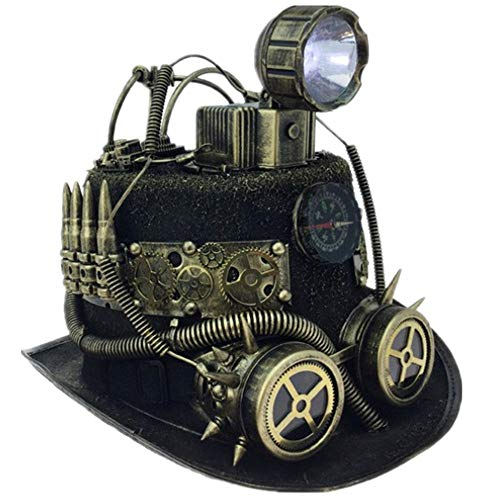 Storm Buy ] Steampunk Style Metallic Top Hat Scientist Time Traveler Halloween Costume Cosplay Party with Goggles & Head Light (Gold with Head Light) -