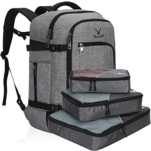 Hynes Eagle Travel Backpack 40L Flight Approved Carry on Backpack, Light Grey with 3PCS Packing Cubes 2018